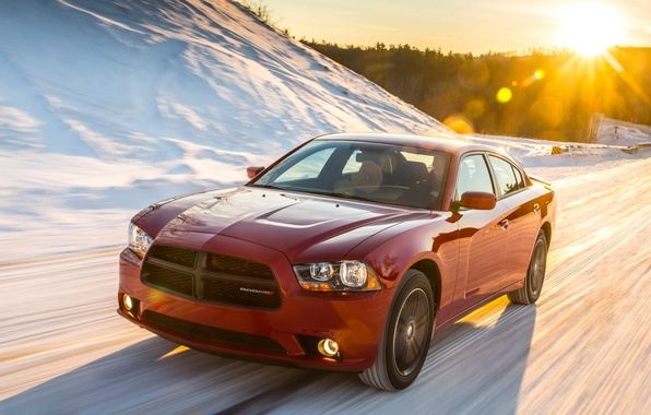 Picture road, auto, the sun, snow, Dodge, Charger, Sport, AWD