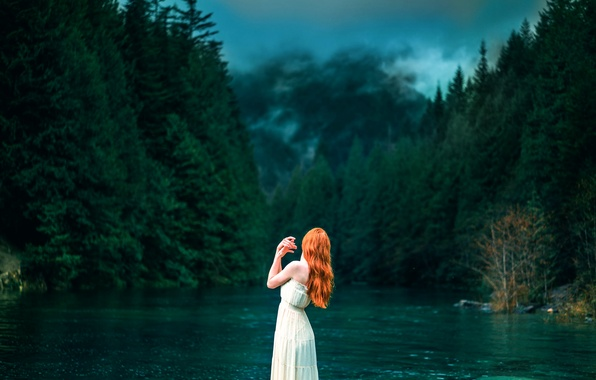 Picture forest, girl, river, Lizzy Gadd, A Light in the Darkness