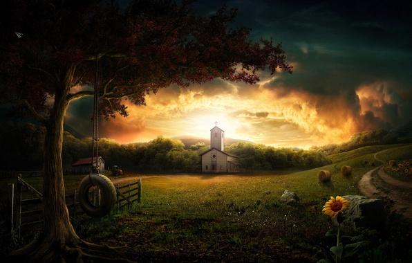 Picture swing, tree, dawn, Church
