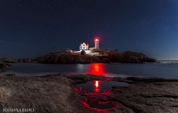 Picture landscape, night, the ocean, rocks, lighthouse