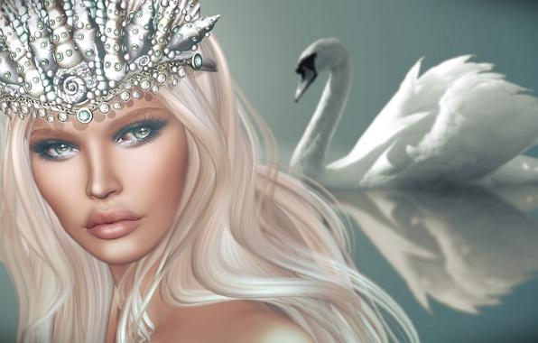 Picture look, girl, background, hair, crown, Swan