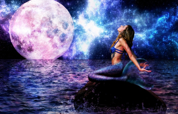 Picture sea, wave, look, girl, night, fiction, mermaid, tail, big moon