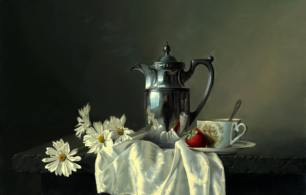 Picture flowers, reflection, table, chamomile, picture, strawberry, berry, spoon, Cup, still life, Alexei Antonov, shawl, saucer, ...