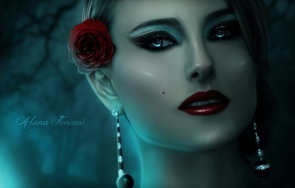 Picture flower, look, girl, face, rose, doll, makeup, art, porcelain