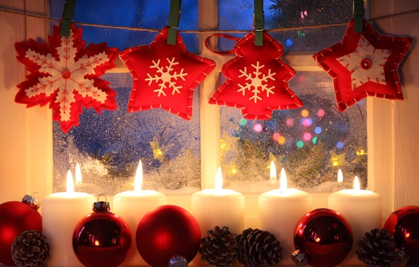 Picture stars, snow, decoration, snowflakes, Windows, candles, New year, star, new year, bumps, snow, window, Merry …