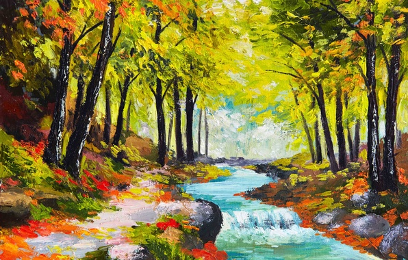 Picture forest, river, seasons, paint, picture, art, painting, colorful, canvas, nature, painting, autumn, strokes, oil.