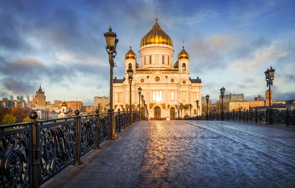 Picture bridge, lights, Moscow, temple, Russia, Palace, The Cathedral Of Christ The Savior, The Patriarchal bridge
