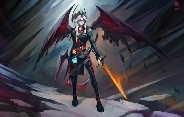 Picture girl, rocks, wings, sword, armor, the demon, demon, girl, sword, armor, wings, rocks, DOTA, by …