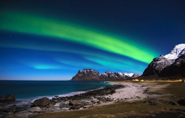 Picture sea, the sky, mountains, stones, coast, Northern lights, Norway, Norway, The Lofoten Islands, Lofoten Islands, …