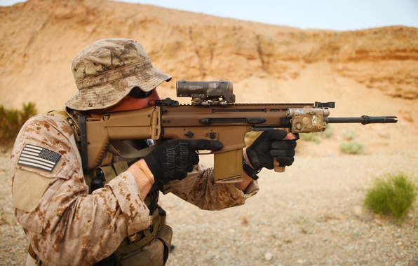 Photo Wallpaper United States Assault Rifle SEALs Weapon Fn Scar American