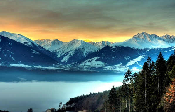 Picture the sky, mountains, Forest