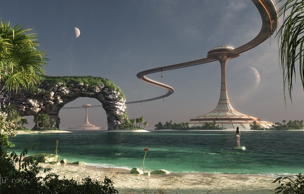 Picture sea, water, girl, landscape, lake, stones, day, facilities, render, colony
