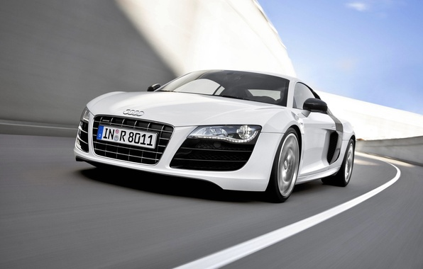 Picture Audi, Audi, White, Machine, The hood, V10, Sports car