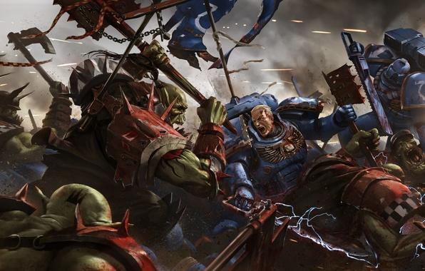 Picture Warhammer, orcs, space marine, Marines, Warhammer 40K, WH40K, Eternal Crusade