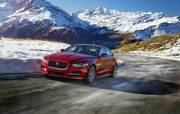 Picture road, snow, mountains, Jaguar, Jaguar, R-Sport