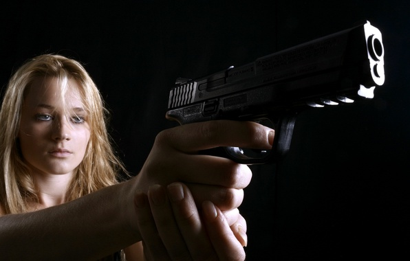 Picture girl, gun, weapons, the situation