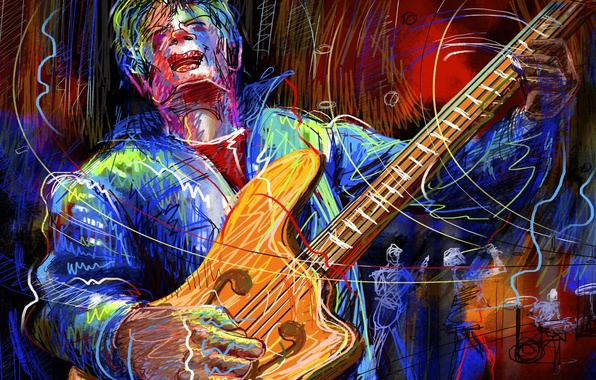 Picture guitar, vector, group, concert, guitarist, soloist, touch
