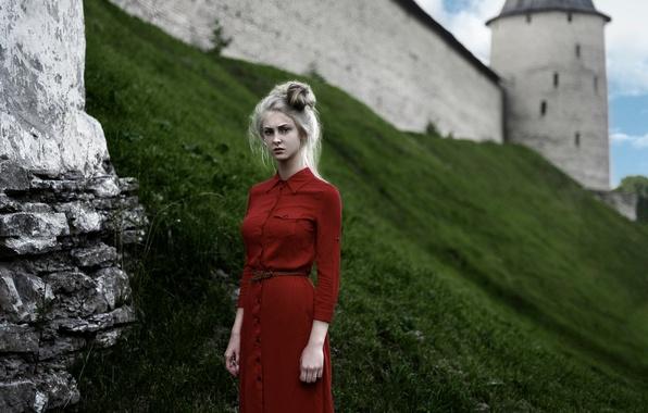 Picture dress, in red, Lena, Tatiana Mercalova