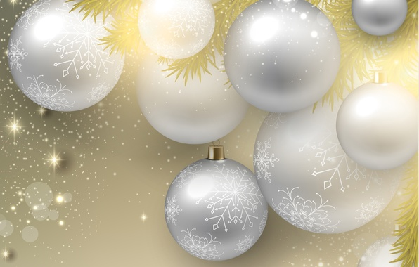 Picture snowflakes, balls, new year, sequins, new year, snowflakes, balloons, glitter, twigs Christmas trees, twigs of …