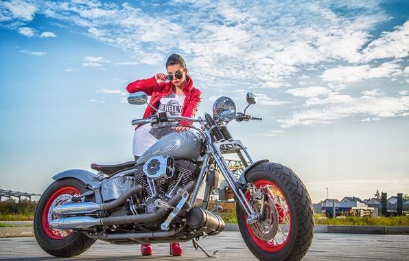 Picture girl, motorcycle, Harley Davidson, bike, Harley
