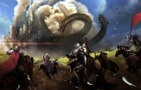 Picture weapons, castle, horses, armor, art, head, battle, knights, Hydra, worms