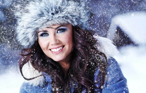 Picture winter, girl, snow, clothing, hat, fur