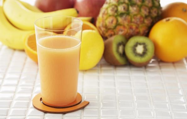 Picture glass, Apple, orange, food, kiwi, juice, fruit, pineapple, banana, natural