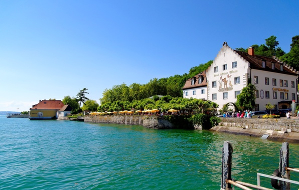 Picture water, trees, nature, the city, lake, house, river, Germany, Meersburg