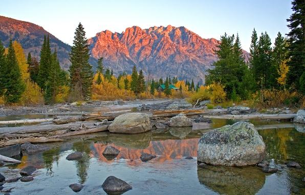 Picture autumn, the sky, trees, sunset, mountains, lake, reflection, stones, spruce, house, USA, Wyoming, grand teton …