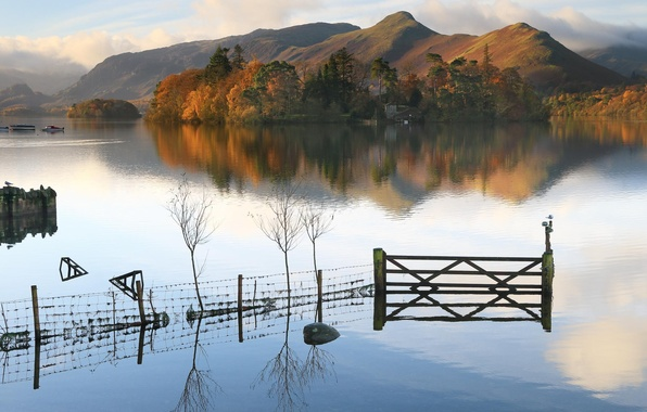 Picture autumn, trees, lake, house, hills, the fence, boats