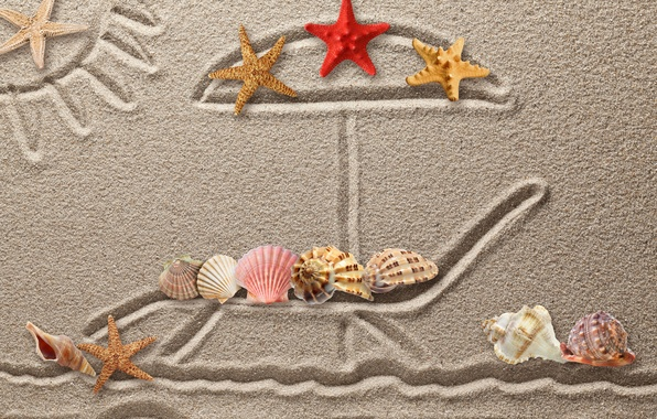 Picture sand, figure, shell, texture, sand, drawing, starfish, seashells