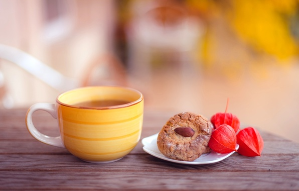 Picture autumn, table, tea, cookies, Cup, yellow, cakes, almonds