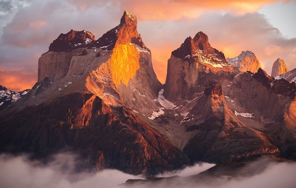 Picture light, morning, shadows, Chile, South America, Patagonia, the Andes mountains, national Park Torres del Paine