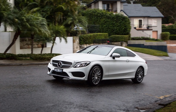 Picture road, machine, street, Mercedes-Benz, car, Mercedes, Coupe, the front, C 300, AMG line
