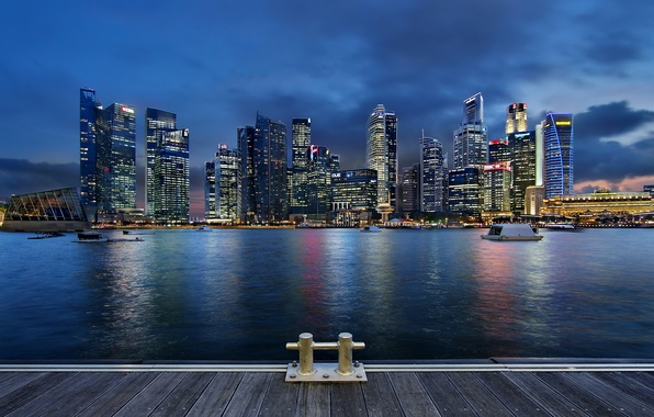 Picture clouds, night, lights, lights, skyscrapers, backlight, Bay, Singapore, architecture, megapolis, night, clouds, Singapore, blue sky, ...