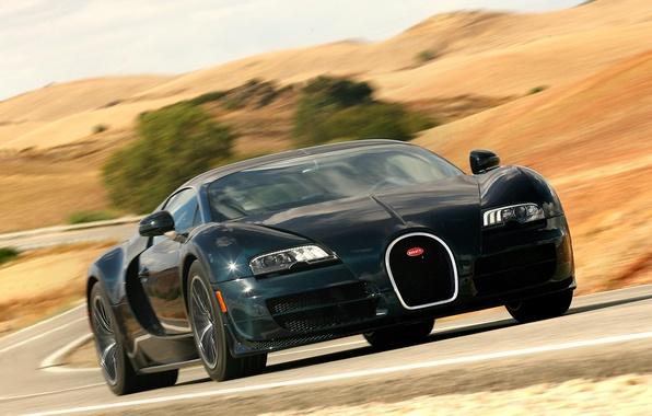 Picture road, auto, speed, Bugatti Veyron, the front, Super Sport, 16.4