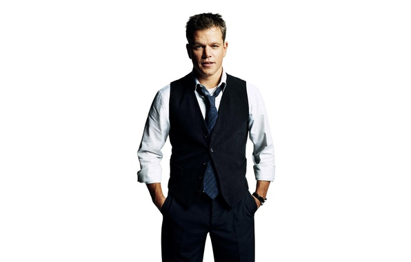 Picture costume, tie, actor, white background, shirt, Matt Damon, photoshoot, pants, vest, Matt Damon