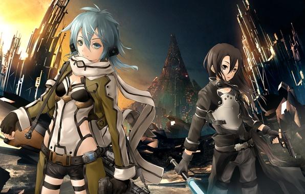 Picture weapons, girls, Sword Art Online, Kirito, Kirigaya Kazuto, Gun Gale Online, Shinon, Shino Wand