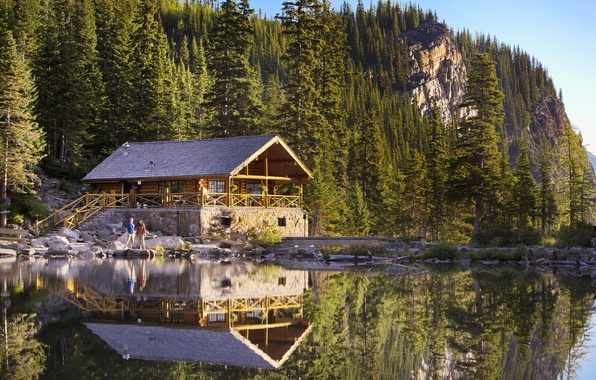 Picture forest, water, trees, mountains, lake, house, reflection, stones, people, rocks, shore, Canada, beautiful, Banff National …