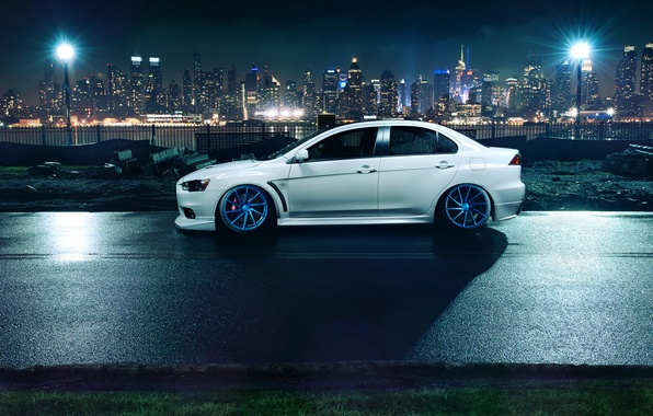Picture white, night, the city, lights, profile, Mitsubishi, Lancer, white, Evolution, skyscrapers, megapolis, Lancer, Mitsubishi, evolution, …