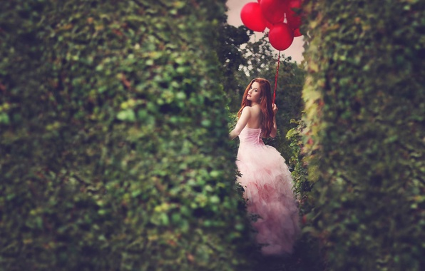 Picture girl, balls, dress, redhead
