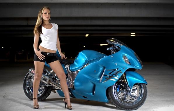 Picture girl, blue, tuning, motorcycle, shorts, legs, Suzuki, Hayabusa, Falcon, tuning, cute, Suzuki, 1300R, GSX, хаябуса