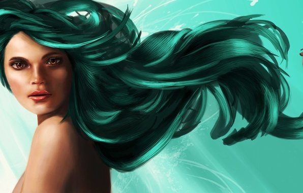 Picture look, water, girl, fish, face, the ocean, mermaid, art, shoulders, green hair