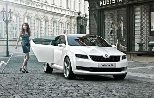 Picture Concept, white, girl, street, the concept, legs, beauty, the front, vetrin, Vision D, Skoda, vision …