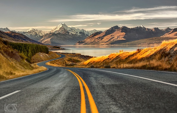 Picture road, mountains, New Zealand, South island, Southern Alps
