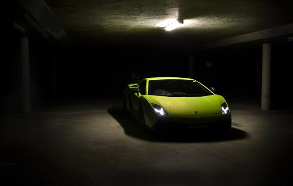 Picture green, green, Parking, gallardo, lamborghini, front view, headlights, Lamborghini, lp570-4, superleggera, Superleggera, Gallardo