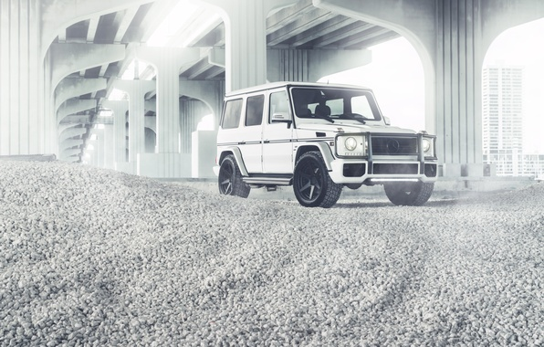 Picture Mercedes-Benz, white, G55, front, G-Class, W463