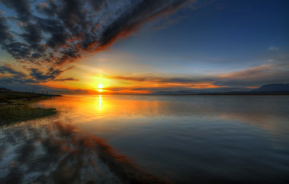 Picture the sky, water, the sun, clouds, sunset, lake, reflection, river, shore, horizon