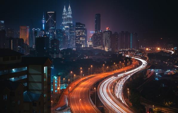 Picture road, night, the city, lights, Malaysia, Kuala Lumpur