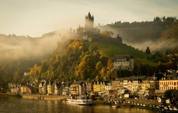 Picture autumn, the city, fog, river, castle, morning, Germany, Cochem, Moselle